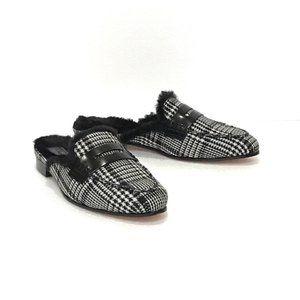 J. Crew Plaid Faux Fur Lined Mule Shoes Gray 7.5